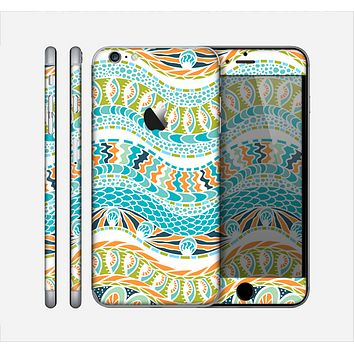 The Vector Teal & Green Snake Aztec Pattern Skin for the Apple iPhone 6 Plus