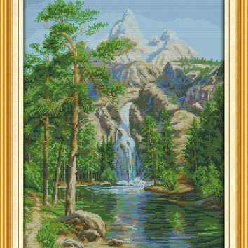 High Mountain And Flow Crafts Sewing Cross Stitch Kits DMC 11CT Printed Embroidery 14CT DIY Handmade Needle Work Wall Home Decor