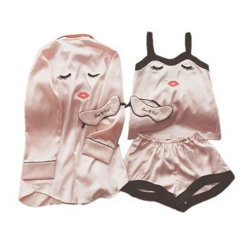 3pcs Women Pajamas Set with Eye Mask Spring Summer Suspenders Eyelash Red Lips Patterns Nightgown Sexy Silk Robe Long Sleeve Ice Floss