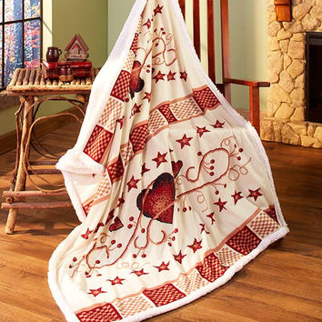 "Heart Berry Stars Sherpa Throw Soft 50"" x 60"" Country Rustic Primitive Decor"