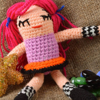 Handmade Fabric doll interesting Soft toy gift Fashion colorful crocheted doll