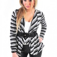 Multi-Stripe Belted Cardigan - Diva Hot Couture