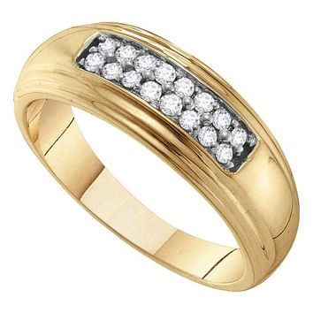 10kt Yellow Gold Men's Round Diamond Double Row Wedding Band Ring 1/4 Cttw - FREE Shipping (US/CAN)