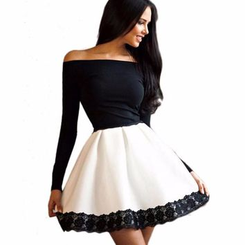 Spring and Summer Women's Long Sleeved Lace Patchwork Dress Sexy Off Shoulder Strapless Dress Slash Neck Party Dresses Vestidos