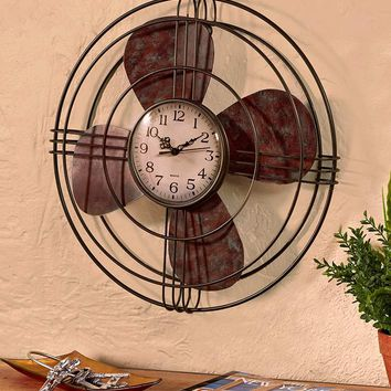 Unique Home Office Western Rustic Vintage Fan Wall Clock