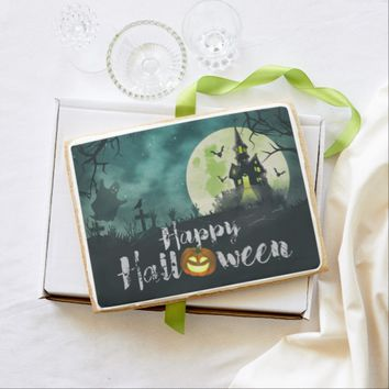 Spooky Haunted House Costume Night Sky Halloween Jumbo Shortbread Cookie