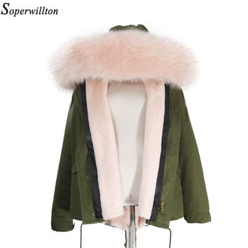 Thicken Warm 2017 New Winter Jacket Women's Parkas Coats Large Raccoon Real Fur Winter Jacket Collar Hooded Fashion Quality TOP