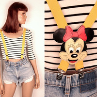 80s Minnie Mouse suspenders // stitched leather