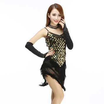 Sexy Women Competition Dance Dress Shining Sequined Fringed Latin Tango Rumba Samba Party Slip Dress