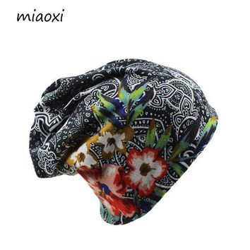 DCCKU62 miaoxi New Women Hat Polyester Adult Casual Floral Women's Hats Spring Autumn Two Used Femal Cap Scarf 3 Colors Fashion Beanies