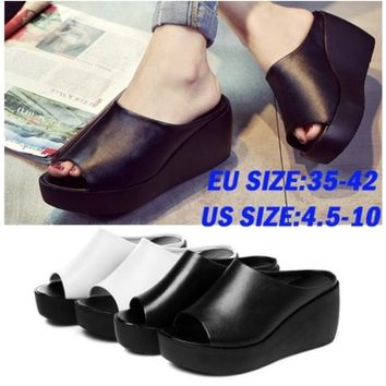 Plus Size 4.5-10 Women Summer Sandals Fashion Shoes Leisure Fish Mouth Wedge Sandals White Black