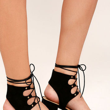 Certified Sass Black Suede Lace-Up Heels