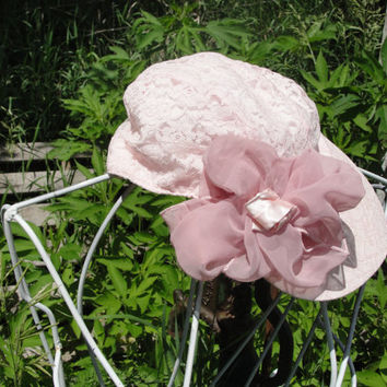 Pink shabby chic lace hat with pink bow