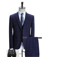 Plaid Suit Men Slim Fit Mens Formal Suits High Quality 3 Piece Groom Wedding Suit