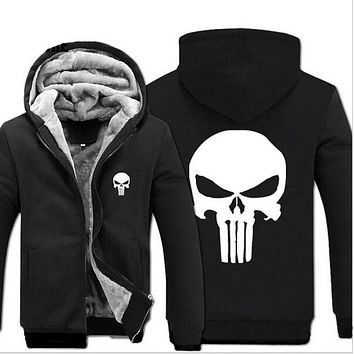 2017 New Fashion Winter Warm The Punisher Hoodies Anime skull Hooded Coat Thick down men Drake cardigan Jacket Sweatshirts
