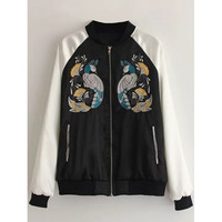 Peacock Embroidered Bomber Jacket