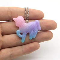 Dreamy Pastel Rainbow Unicorn Pendant