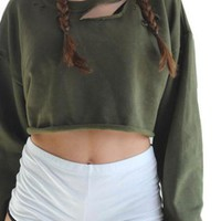 HDY Haoduoyi Autumn Fashion Women Long Sleeve Sweatshirt Sexy Casual Army Green Holes Distressed Loose Crop Top Sweatshirt
