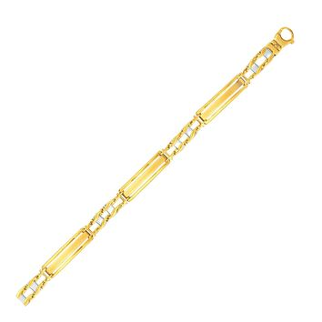 14K Two-Tone Gold Fancy Bar Style Men's Bracelet with Curved Connectors