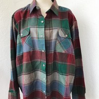 ARROW OVERSIZE VINTAGE FLANNEL- BURGUNDY/GREEN