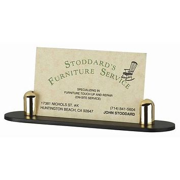 Personalized Free Engraving Business Card Holder Goldtone or Silver with Black Base