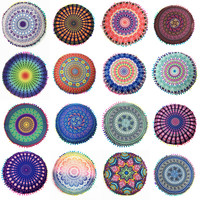 Mandala Round Cushion Cover Pompom Bohemian Tassel Paisley Throw Pillow Cover Meditation Cushion Decorative Pillows