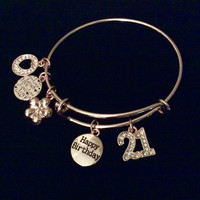 Happy 21st Birthday Rose Gold Expandable Charm Bracelet 21 Adjustable Wire Bangle Stacking Trendy Gift