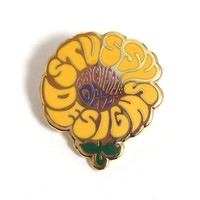 Psychedelic Flower Pin Yellow