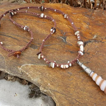 Long Hemp Necklace, Mermaid, Sea Shell Pendant, Long Necklace, Shell Necklace, Hemp Necklace, Pink Puka Shells, Handmade Jewelry, Women