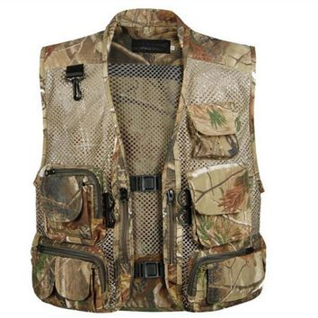 Men Camping Hunting Camouflage Spring Summer And Autumn thin Mesh Breathable Pocket Outdoor Photography Fishing Vest Waistcoat