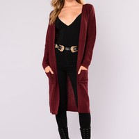 Abella Duster Sweater - Burgundy