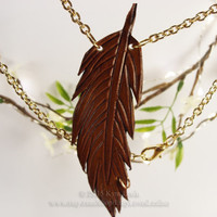 Leather Feather, Pendant Necklace, Brown Feather, Hippy Feather, Leather Necklace, Feather Jewelry, Hand Made