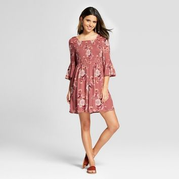 Women's Square Neck Smocked Bell Sleeve Dress - Xhilaration™