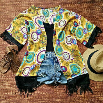 Boho Hippie Styles Kimono Cardigan with Fringed Festival Gypsy fabric Beach Cover Up Jacket Summer Bohemian women fashion chic yellow