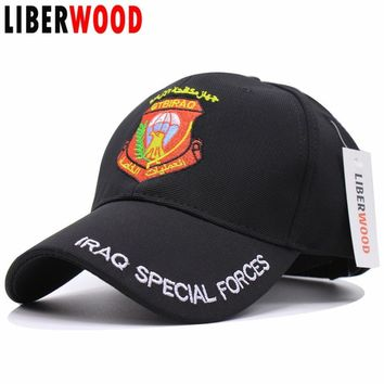 Trendy Winter Jacket LIBERWOOD IRAQ SPECIAL FORCES Baseball Cap Snapback IRAQ Eagle Army Fitted Hat Hombre Homme Bone Casquette caps men Tactical Cap AT_92_12