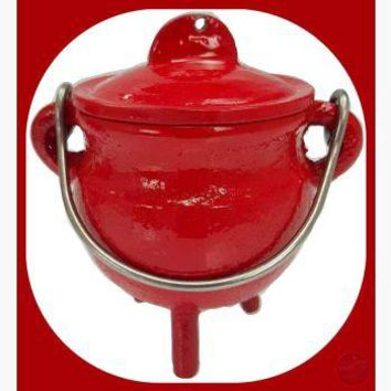 Red Cast Iron Cauldron with Lid