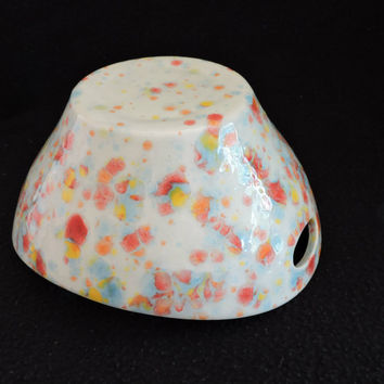 "Handled Bowl, Hand-painted with ""Kaleidoscope"" crystal Glaze, Serving Dish"