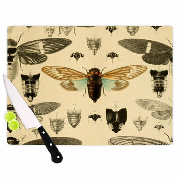 "Suzanne Carter ""Vintage Cicada"" Bugs Pattern Cutting Board"