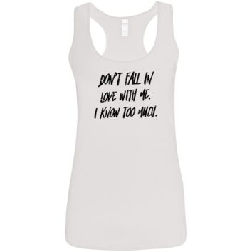 Don't Fall In Love Black Ladies' Softstyle Racerback Tank