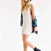 Truly Madly Deeply Split-Arm Distressed Tee Dress- White