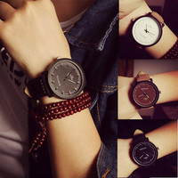 NEW Watch Fashion Round Steel Case Men women Faux Leather Quartz analog wrist Watch