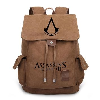2017 New Assassin's Creed Canvas Backpack Travel Bags School Bag Satchel Rucksack Men Women Boy Girls Shoulder Bag Gift