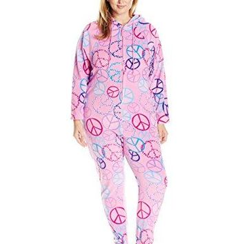 Casual Moments Womens PlusSize OnePiece Hooded Pajama