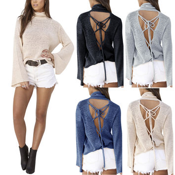 Sexy Back Lace Up Batwing High Neck Sweater