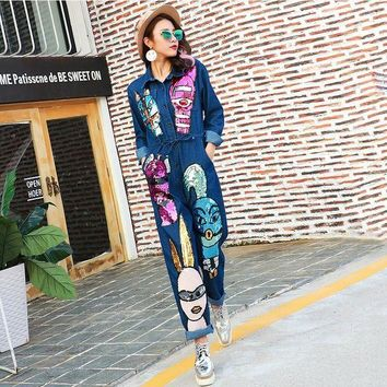 PEAP78W 2016 Autumn Brand Personality Denim Jeans Siamese Jumpsuit Women Cartoon Sequined Jumpsuit Long Sleeve Rompers 1685