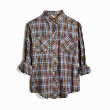 Vintage Woodsy Plaid Shirt in Brown & Blue - women's medium