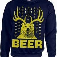 Ugly Christmas Sweater - The Beer Bear Deer