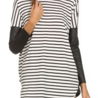Black and White Long Sleeve Striped T-Shirt