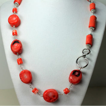 Salmon Coral Necklace, Beach Jewelry, Chunky Coral, Wire Wrapped Coral, Boho Jewelry, Coral Statement Necklace
