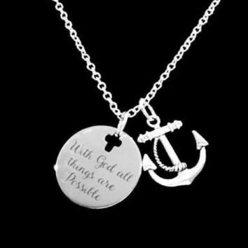 Anchor With God All Things Are Possible Christian Bible Scripture Gift Necklace